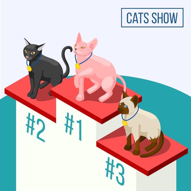 猫は等尺性組成物を表示します 無料ベクター