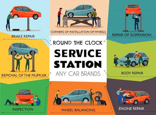 Авто сервис плакат Бесплатные векторы