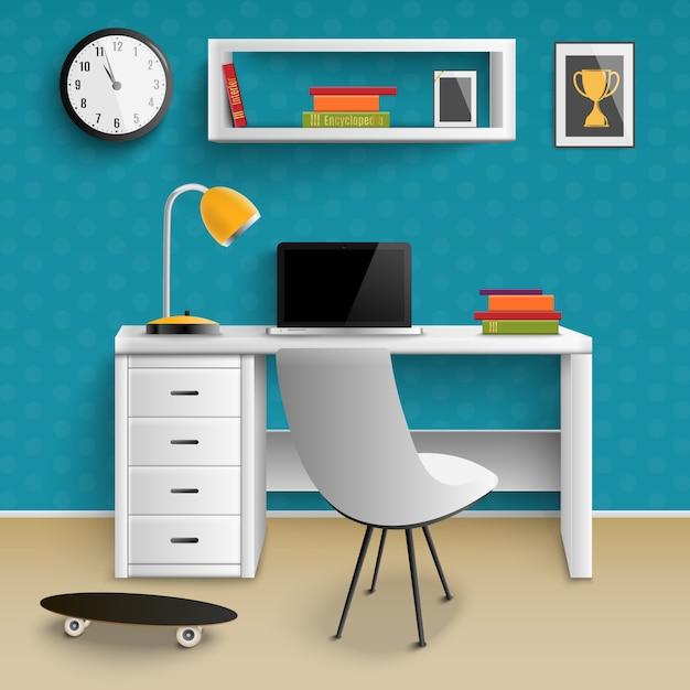 Интерьер рабочего места подростка реалистичный Бесплатные векторы