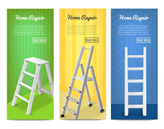 Лестницы реалистичные баннеры Бесплатные векторы