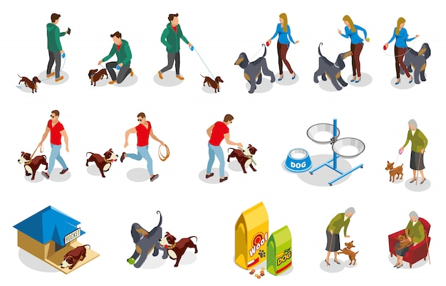 Собака обычная жизнь изометрические иконы Бесплатные векторы