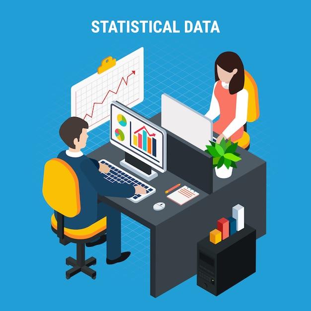 Статистические данные изометрические Бесплатные векторы