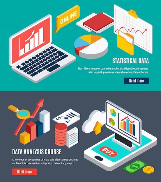 データ分析の水平バナー 無料ベクター