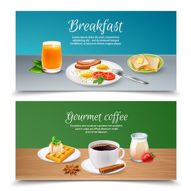Завтрак реалистичные баннеры Бесплатные векторы