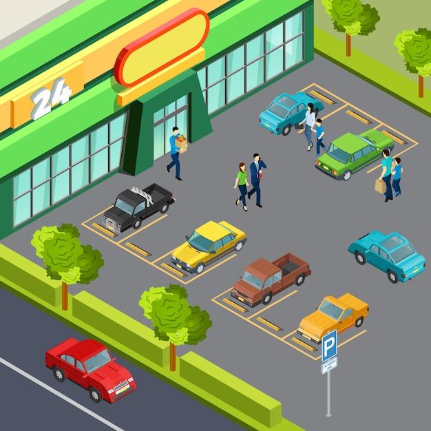 駐車場付きスーパー 無料ベクター