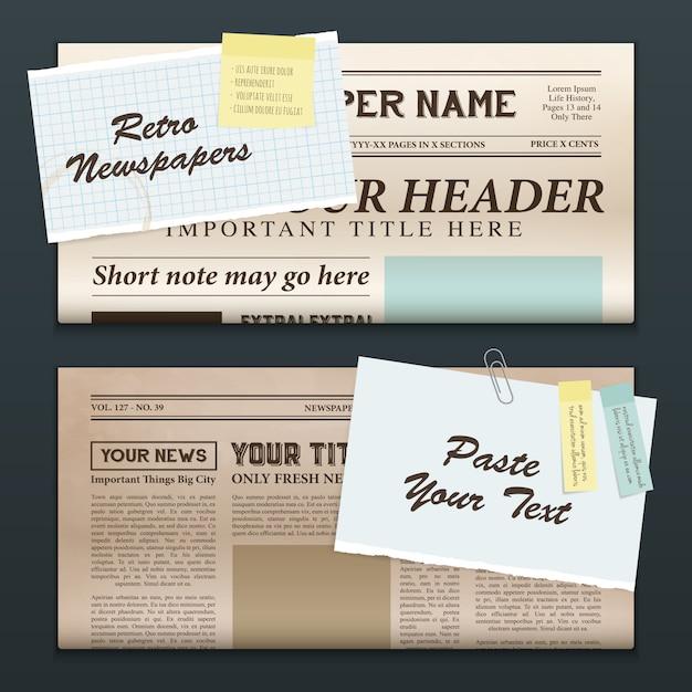 Старинные газетные баннеры Бесплатные векторы