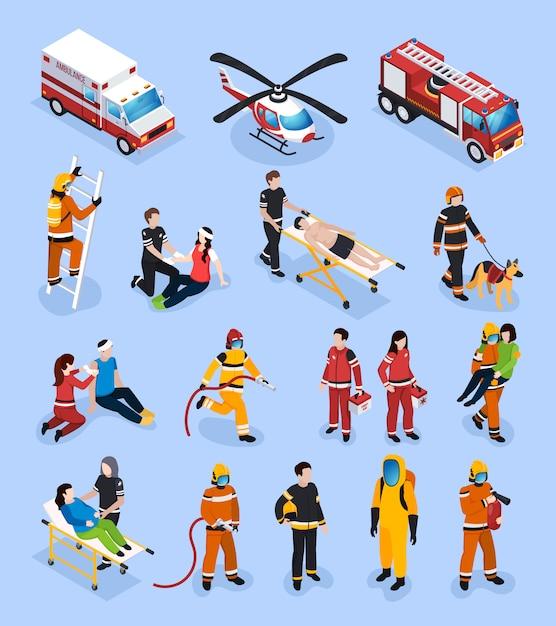 Спасательные команды изометрические набор Бесплатные векторы