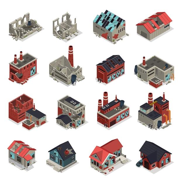 Изометрические набор заброшенных зданий Бесплатные векторы