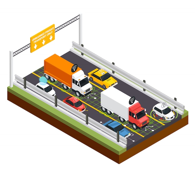 Парковка для беспилотного транспорта Бесплатные векторы
