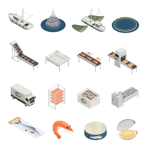 Коллекция икон рыбной промышленности Бесплатные векторы