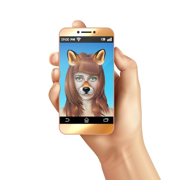 かわいい動物の顔のスマートフォンのモバイルアプリの構成 無料ベクター