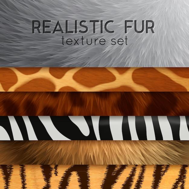Меховой горизонтальный набор текстур Бесплатные векторы