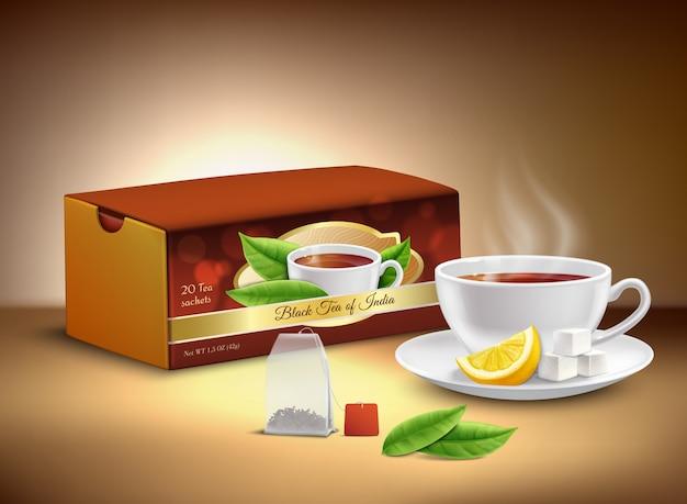 紅茶包装現実的なデザイン 無料ベクター