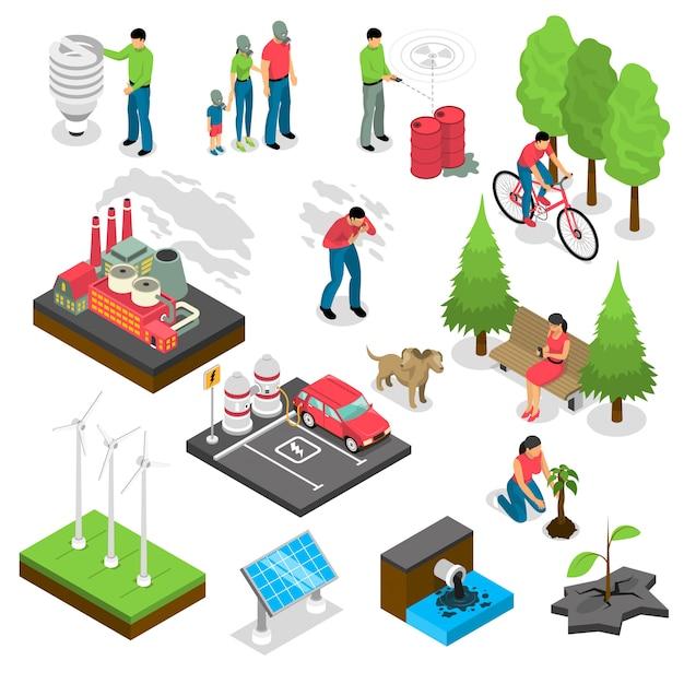エコロジー等尺性セット 無料ベクター