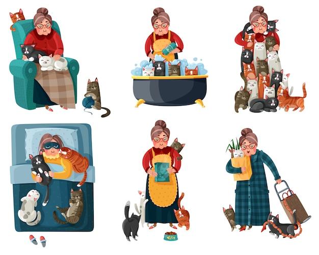 猫セットと孤独な女性 無料ベクター