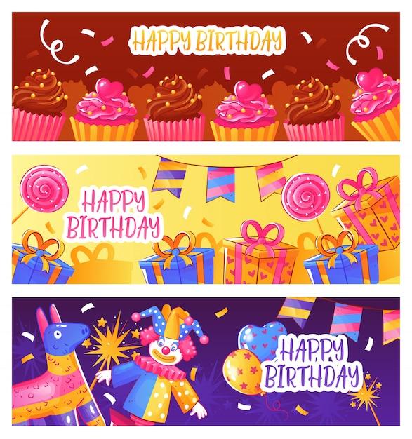 Баннеры на день рождения Бесплатные векторы