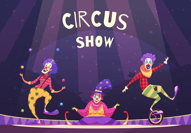 Цирковое шоу клоунов иллюстрация Бесплатные векторы