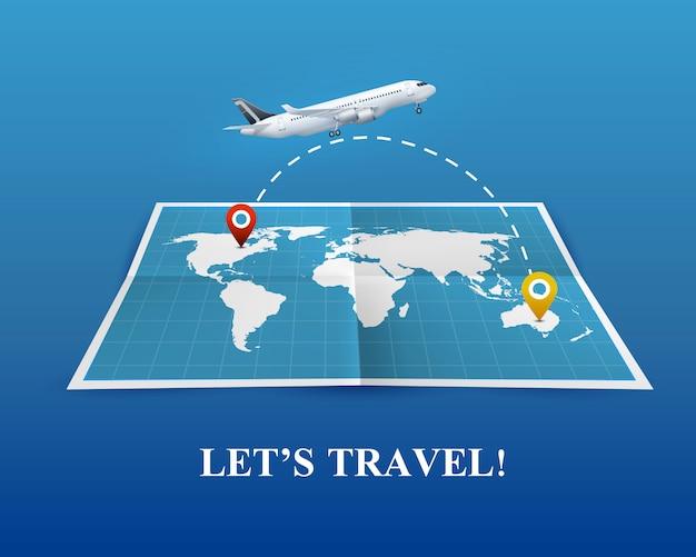 飛行機の現実的な構成による旅行 無料ベクター
