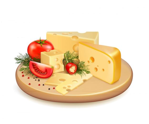 チーズ野菜の組成 無料ベクター