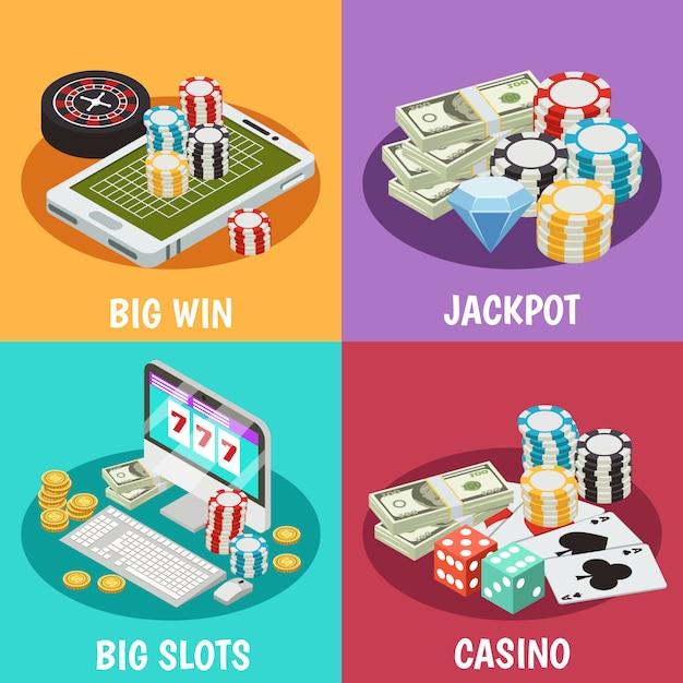 Набор композиции казино Бесплатные векторы