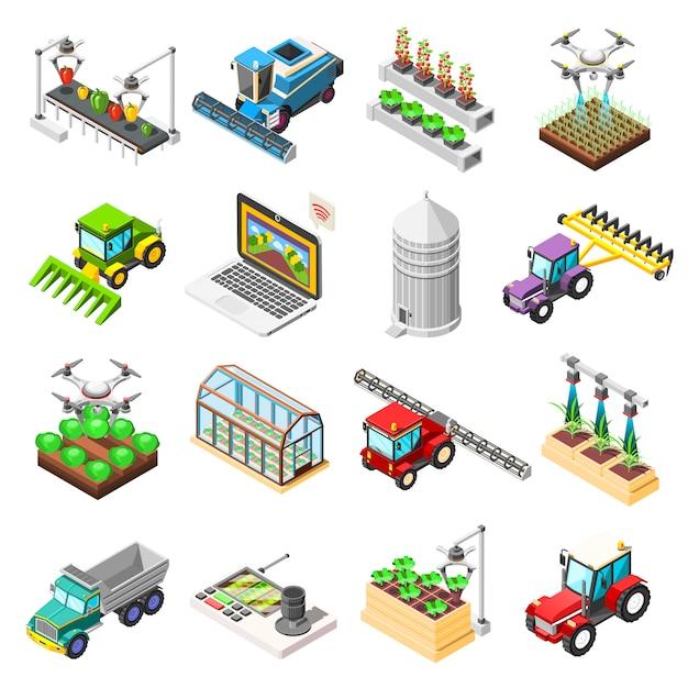 Сельскохозяйственные роботы изометрические элементы Бесплатные векторы