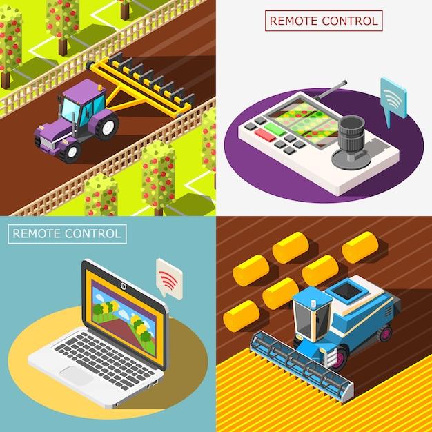 Набор композиций сельскохозяйственных роботов Бесплатные векторы