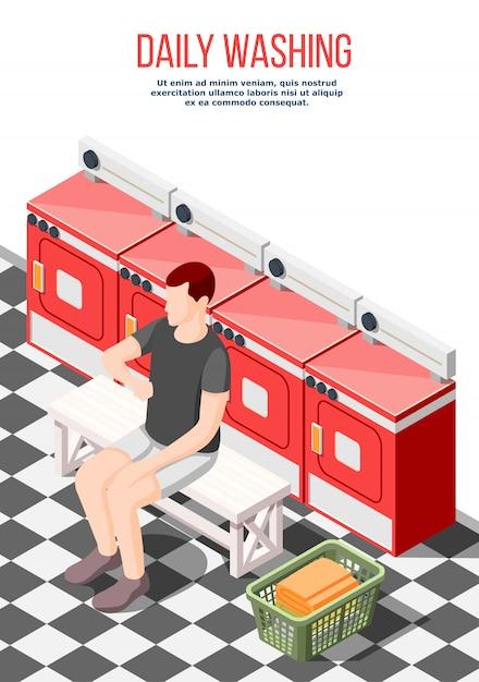 Ежедневно стиральная изометрические постер Бесплатные векторы