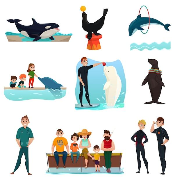 Набор элементов дельфинария Бесплатные векторы