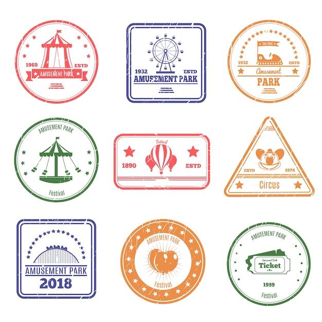 Набор марок парка развлечений Бесплатные векторы