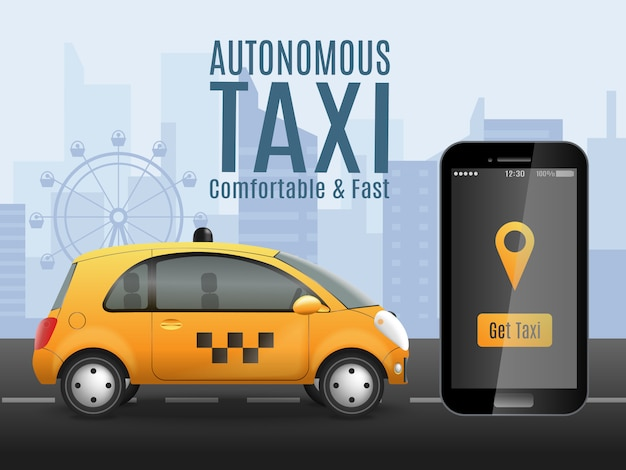 Приложение будущее такси Бесплатные векторы