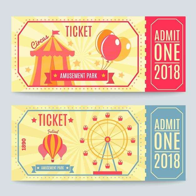 Билеты в парк развлечений Бесплатные векторы