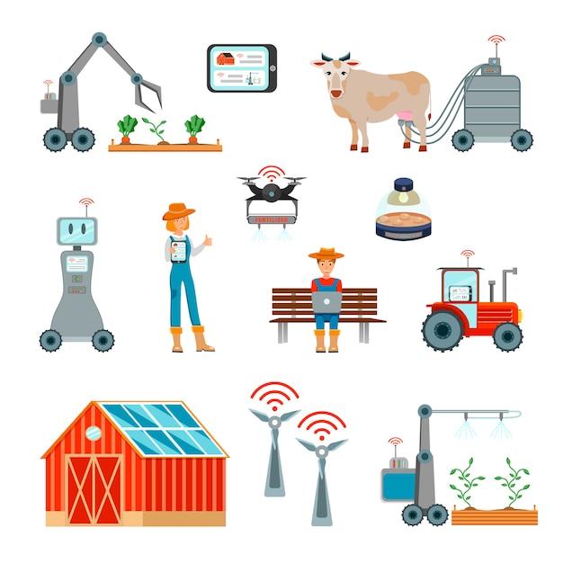 スマート農業フラットアイコンセット 無料ベクター