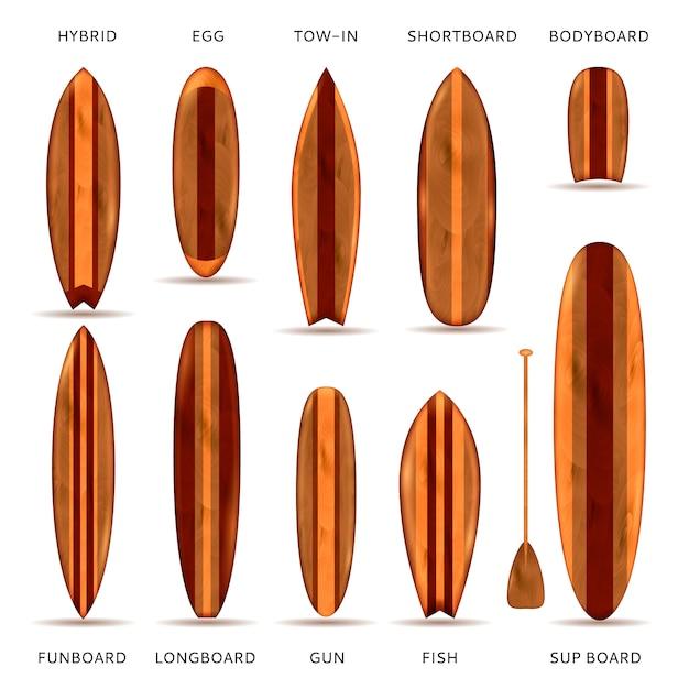 Деревянные доски для серфинга реалистичный набор Бесплатные векторы