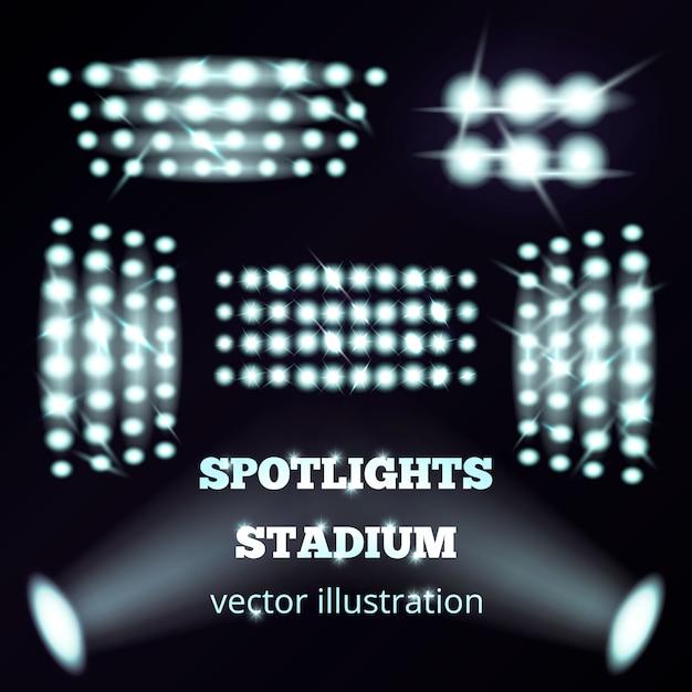 Стадион прожекторы реалистичный набор Бесплатные векторы