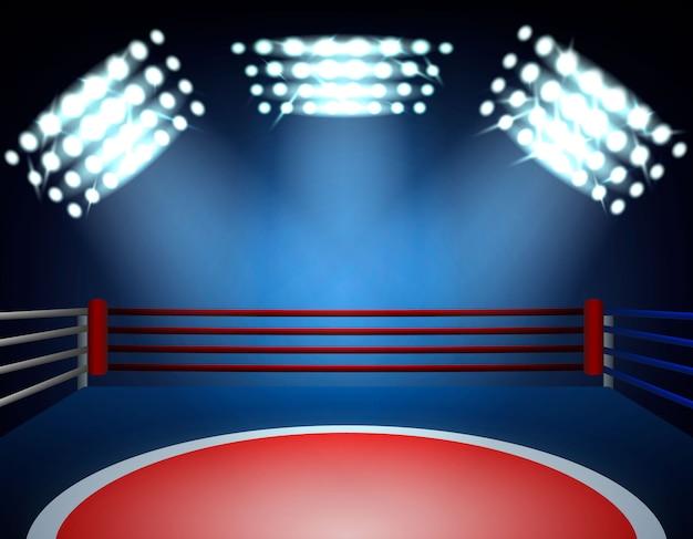 Боксерский ринг прожекторы состав Бесплатные векторы