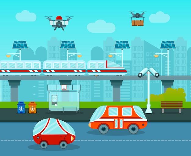 未来の組成の都市 無料ベクター