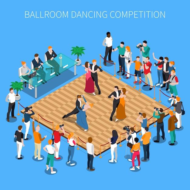 Конкурс бальных танцев изометрическая композиция Бесплатные векторы