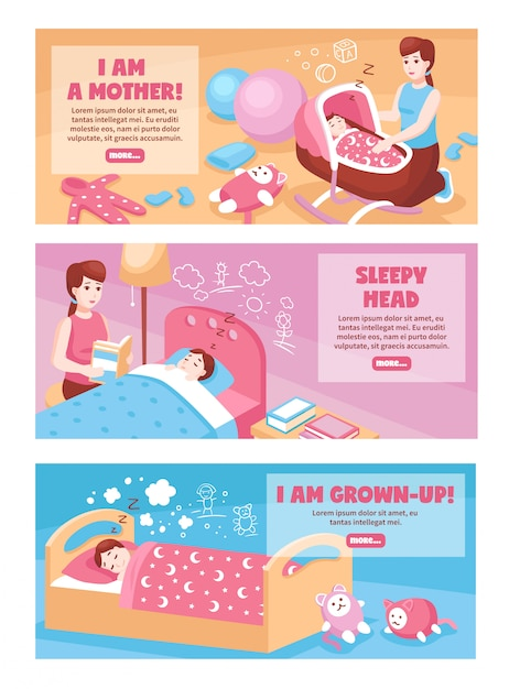 Детские баннеры для сна Бесплатные векторы