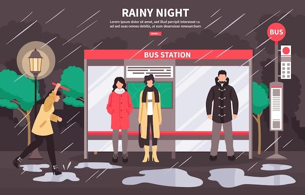 Дождливая погода автобусная остановка баннер Бесплатные векторы