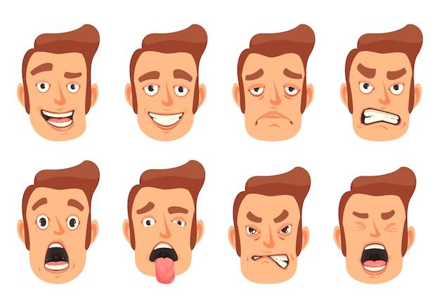 Набор жестов для лица для мужчин Бесплатные векторы