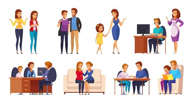 Набор детей с родителями Бесплатные векторы
