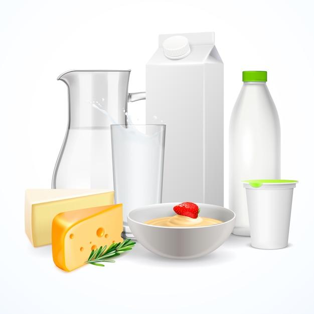 Реалистичная композиция молочных продуктов Бесплатные векторы
