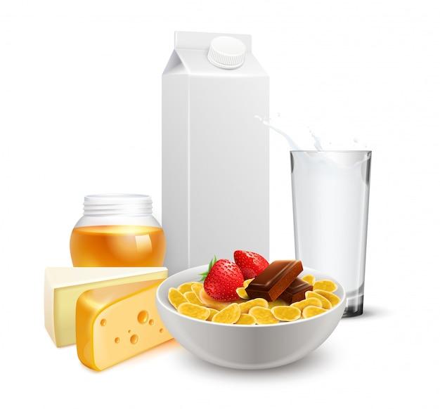 Каши для завтрака молоко реалистичная композиция Бесплатные векторы