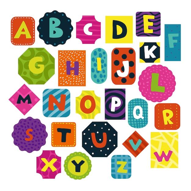 子供のアルファベットセット 無料ベクター