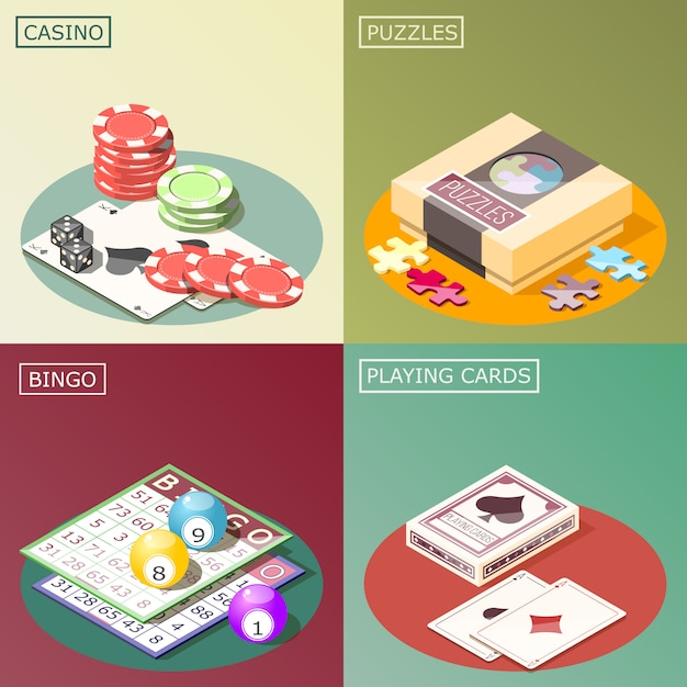 Настольные игры изометрические концепция дизайна Бесплатные векторы