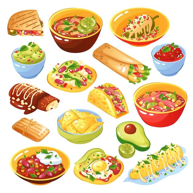 Мексиканский набор еды Бесплатные векторы