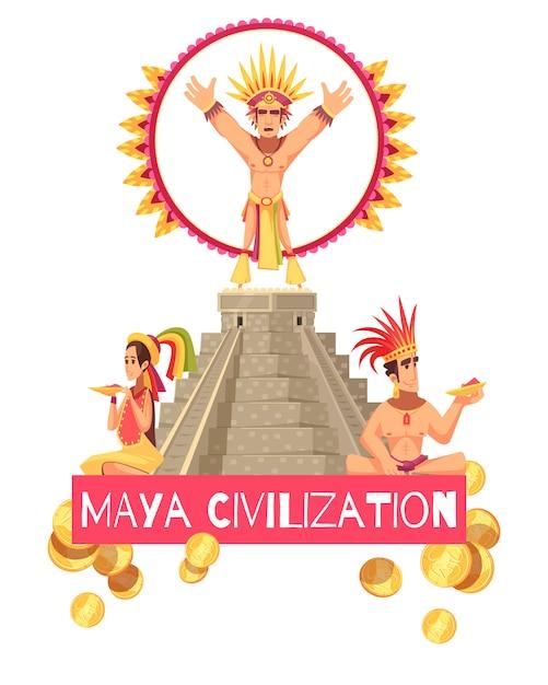 Иллюстрация цивилизации майя Бесплатные векторы
