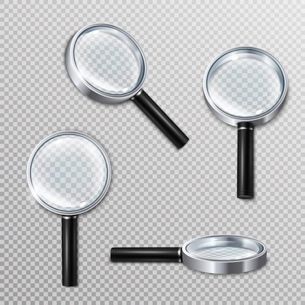 Реалистичные увеличительные стекла Бесплатные векторы