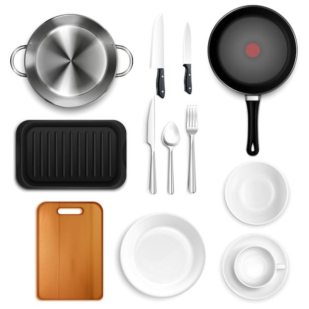 Реалистичный набор кухонной утвари Бесплатные векторы
