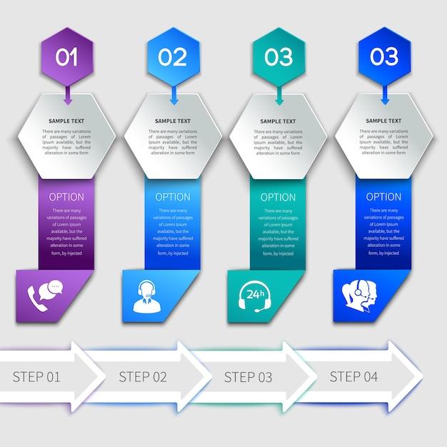 Шаблон обслуживания инфографики оригами Premium векторы